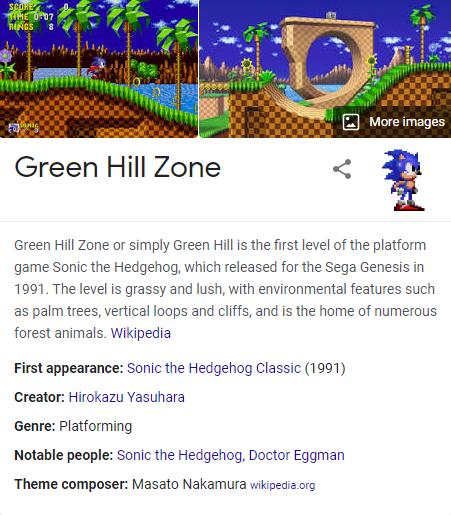 Green hill zone Sonic Google trick