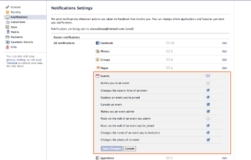 How to turn off Facebook event notifications