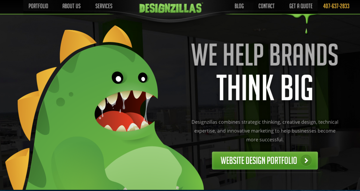 Designzillas homepage screenshot