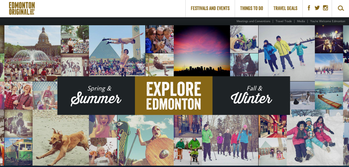 Explore Edmonton homepage screenshot