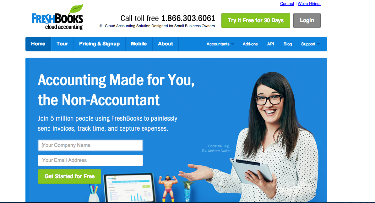 Freshbooks homepage screenshot