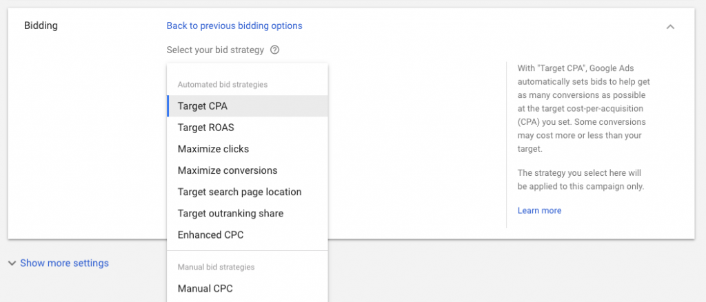 Bidding options screen - new google ads interface