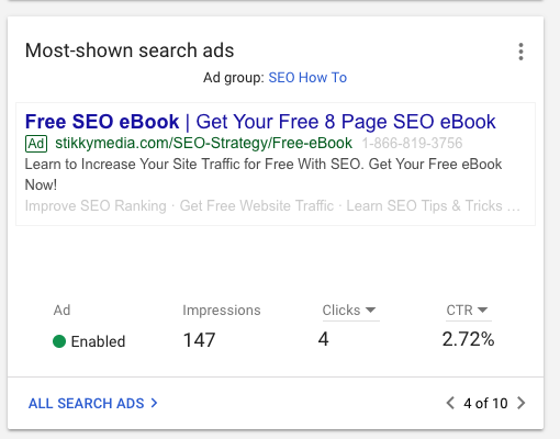 Most-shown search ads feature - new google ads interface