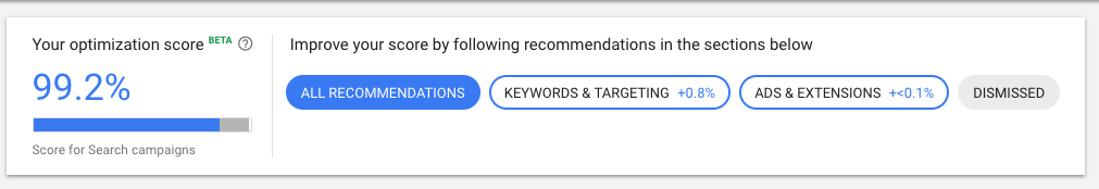 Optimization score in Google Ads - new google ads interface