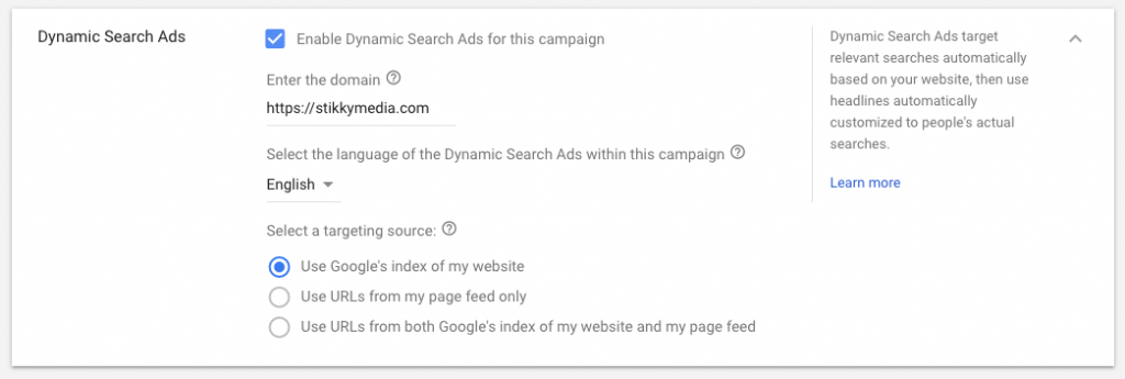 Enable Dynamic Search Ads