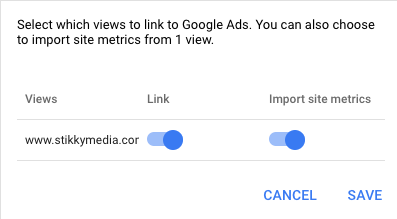 How to mport site metrics into Google Ads