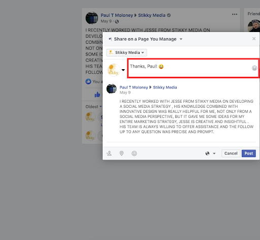 stikky facebook review reply