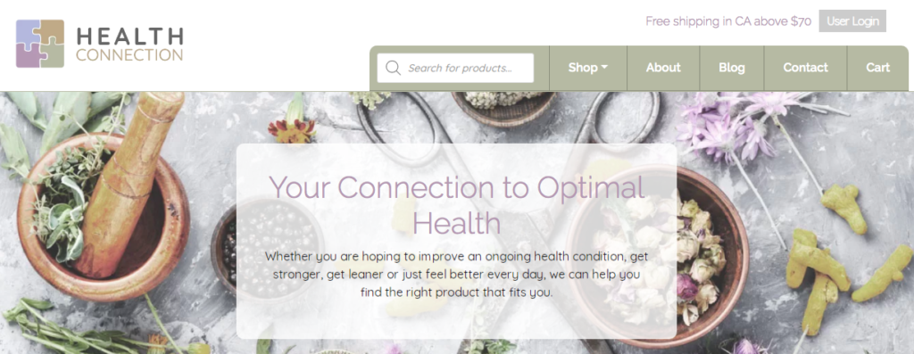 Health Connection home page.
