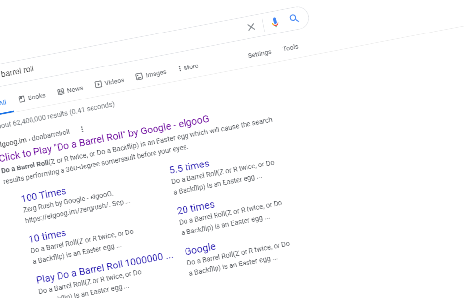 Do a barrel roll - Google trick