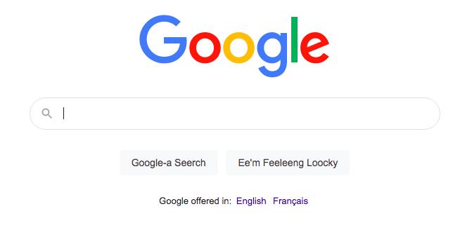 Google homepage with Bork-bork-bork language