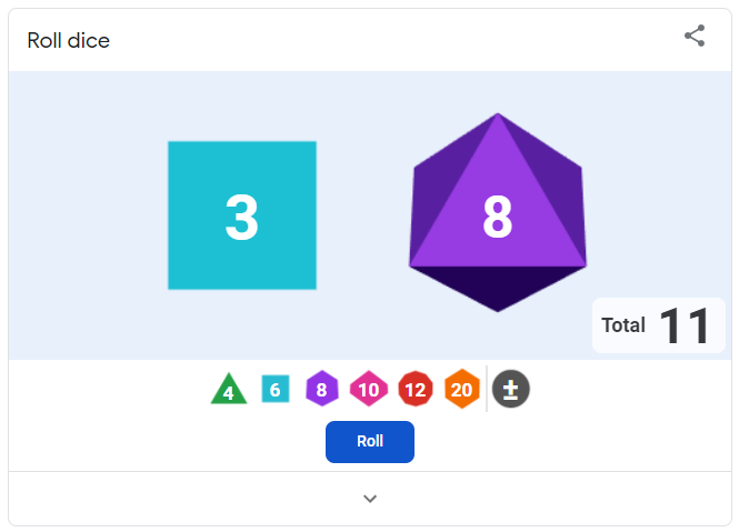 Roll dice - Google game